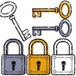 かわいい鍵と錠前イラスト無料素材