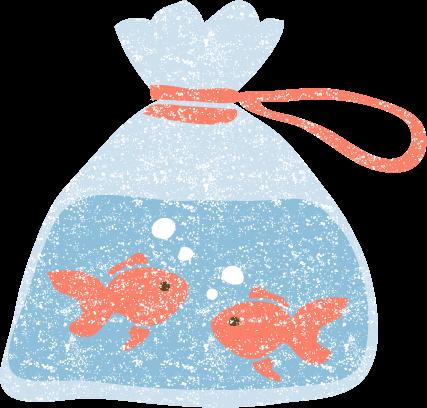 かわいいビニール袋入り金魚無料イラスト