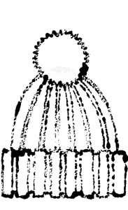 かわいいニット帽イラスト無料素材ポンポンつき白黒