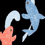 かわいい鯉の滝登りイラスト無料素材