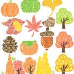 かわいい紅葉や秋の味覚イラスト無料素材