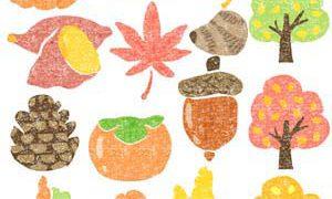 紅葉や秋の味覚イラスト
