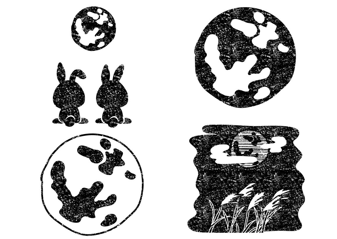 かわいい満月イラスト白黒無料素材