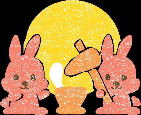 かわいい十五夜お月見うさぎ餅つきイラスト無料素材