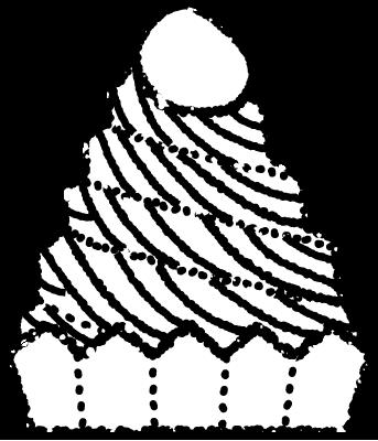 かわいいモンブランイラスト無料素材白黒
