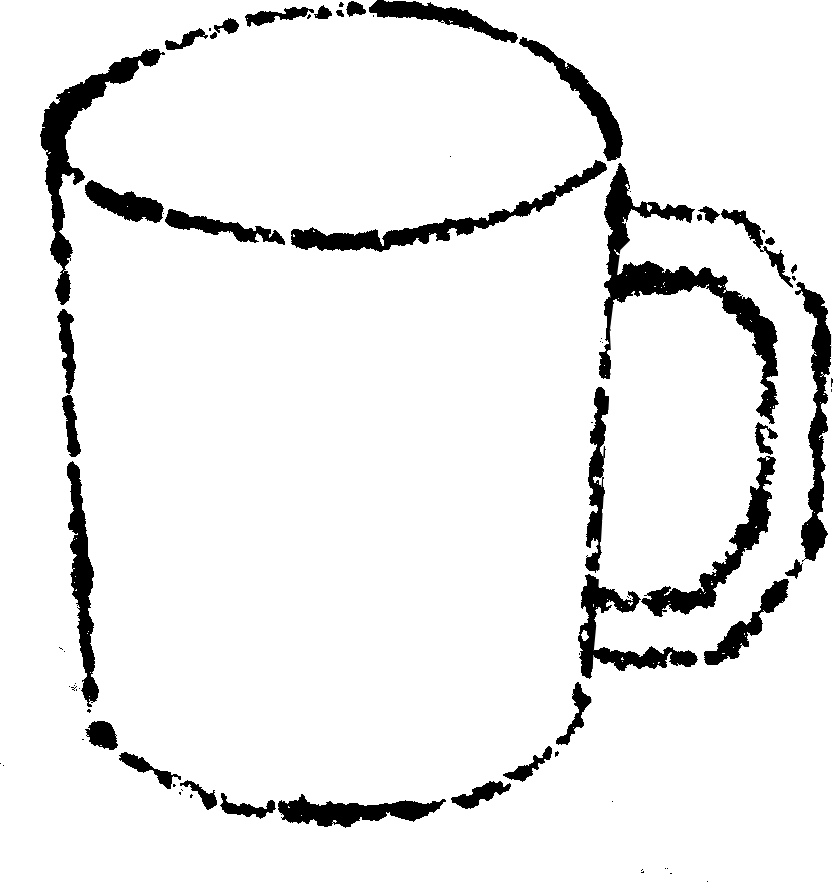 かわいいマグカップイラスト白黒無料素材