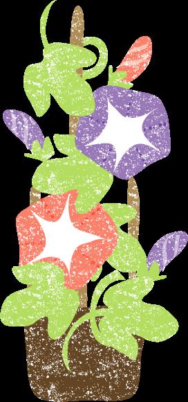 かわいい朝顔鉢植えイラスト無料素材