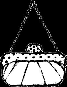 パーティバッグイラスト白黒無料素材