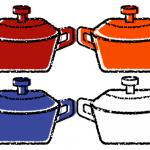 かわいい鋳物ホーロー鍋イラスト無料素材