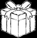 かわいいプレゼントボックスイラスト白黒無料素材