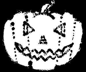かわいいハロウィンかぼちゃイラスト白黒無料素材