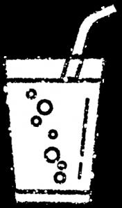 かわいい炭酸水サイダーイラスト無料素材白黒