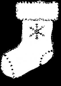 クリスマス靴下白黒イラスト無料