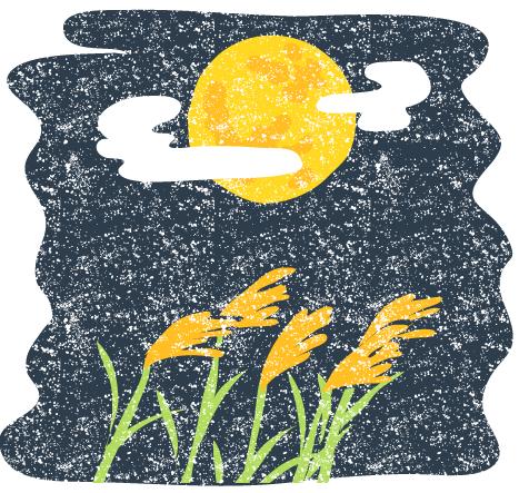 かわいいお月見十五夜の風景イラスト無料素材